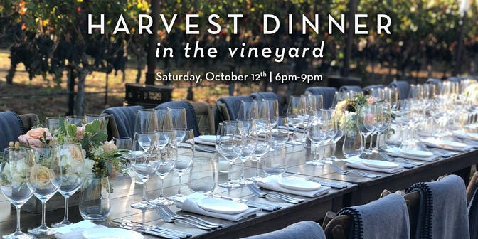 Table set for the Harvest Dinner in the Vineyards at Cosentino Winery